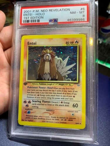 2001 Pokemon Neo Revelation 6 Entei 1st Edition Holo Foil Rare PSA 8 NMMT Card