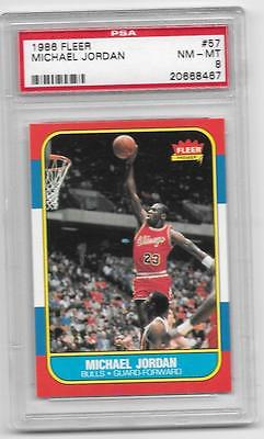 PSA 8 MICHAEL JORDAN 19861987 FLEER 57 ROOKIE RC NMMT CHICAGO BULLS