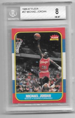 BGS 8 MICHAEL JORDAN 19861987 FLEER 57 ROOKIE RC NMMT CHICAGO BULLS