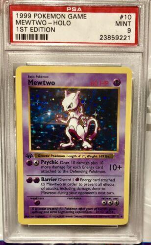 1999 Mewtwo Holo 1st Edition Shadowless Pokemon Card Graded PSA 9 Mint RARE WOW