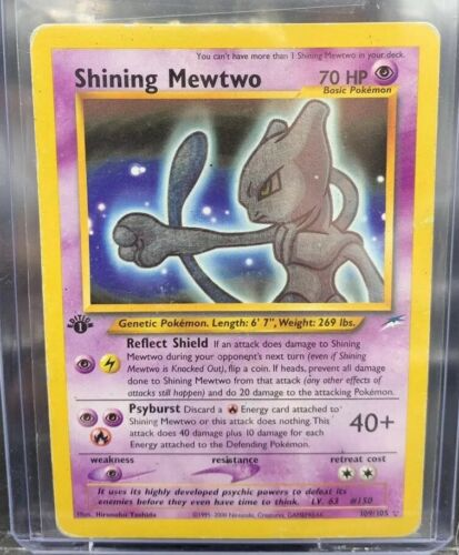 Pokemon Card 1st edition SHINING MEWTWO triple star 109 Holo Moderate Play