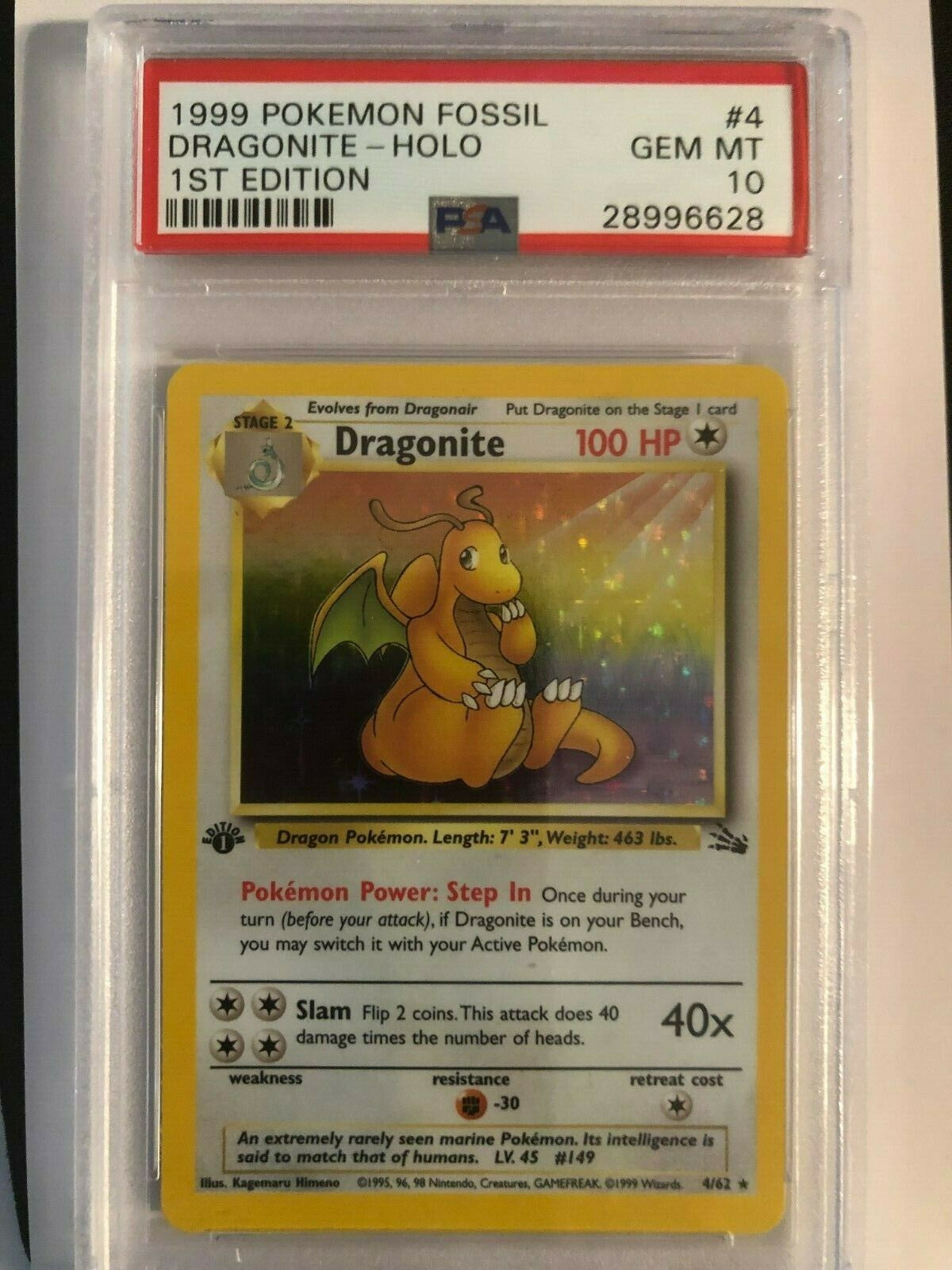 Pokemon Dragonite 1st Edition Fossil Holo 4 PSA 10 GEM MINT  Flawless Card