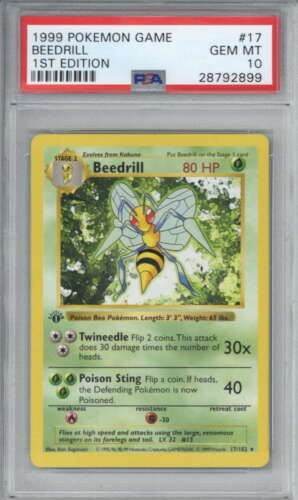 Beedrill 1999 Pokemon First 1st Edition Base Shadowless Card 17 PSA 10