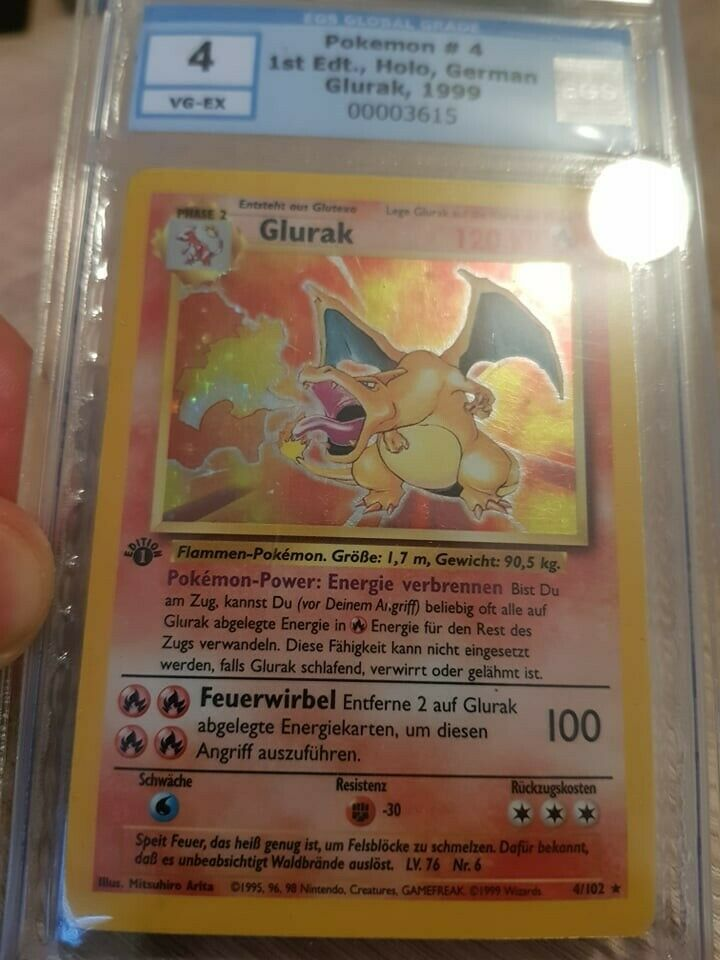 Pokemon Glurak 1999 Holo FIRST Edition 4102 deutsch EGSPSA 4 VGEX