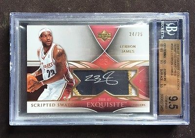 LeBron James 200607 UD Exquisite Scripted Swatches 25  BGS 95