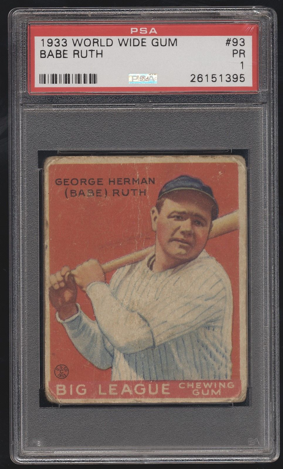 1933 Goudey World Wide Gum 93 Babe Ruth Yankees PSA 1 Poor