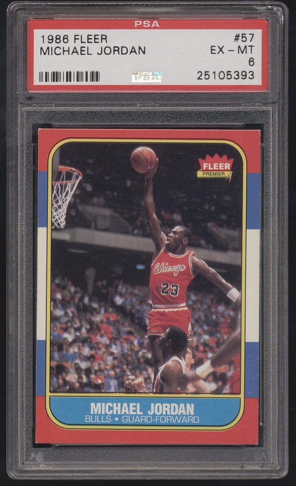 198687 Fleer 57 Michael Jordan Bulls RC Rookie PSA 6 EXMT