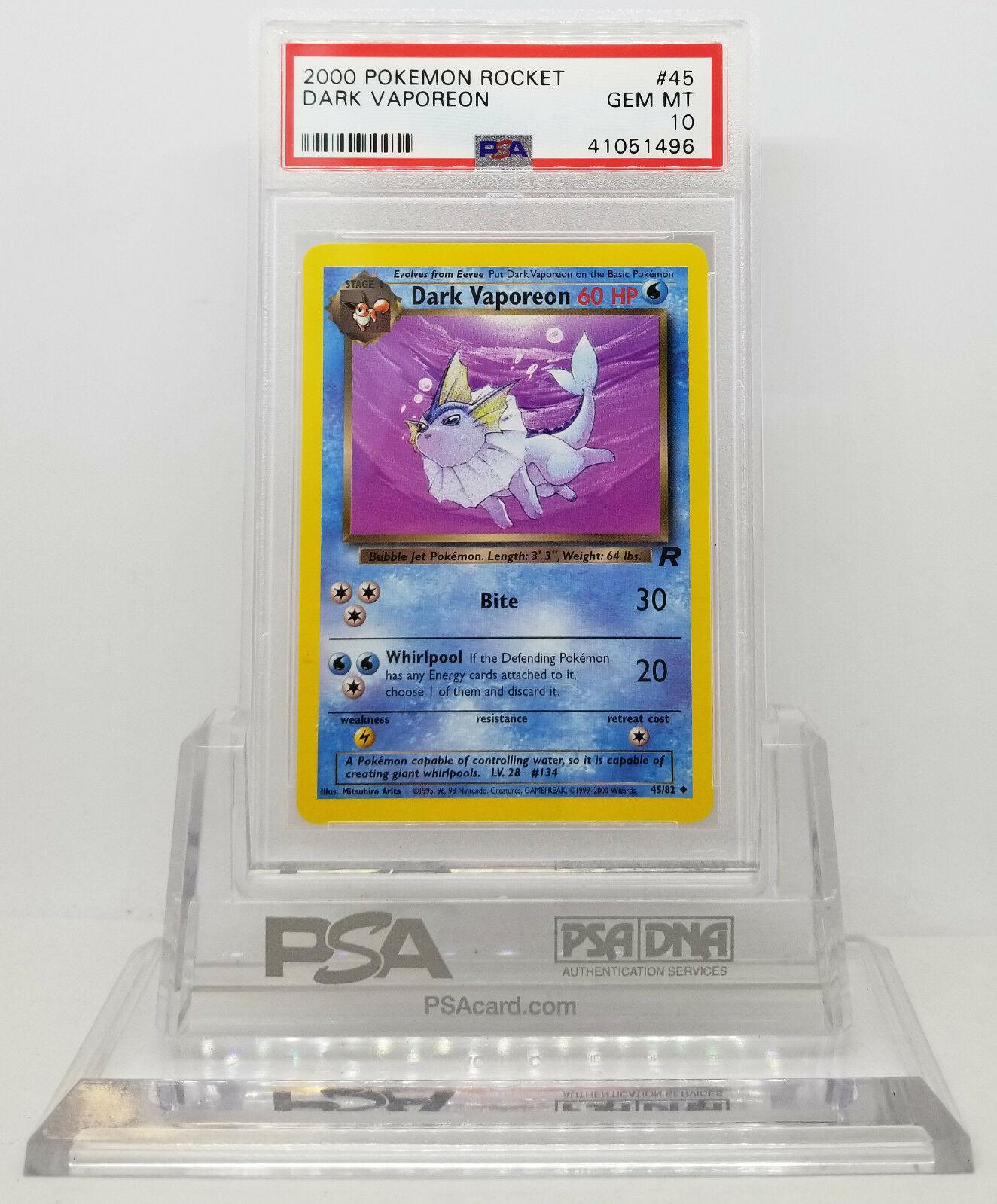 Pokemon 1ST EDTION EX TEAM ROCKET DARK VAPOREON 45 CARD PSA 10 GEM MINT