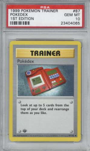 Pokedex 1999 Pokemon First 1st Edition Base Shadowless Card 87 PSA 10