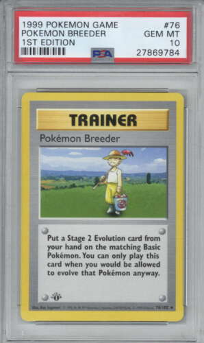 Pokemon Breeder 1999 Pokemon First 1st Edition Base Shadowless Card 76 PSA 10