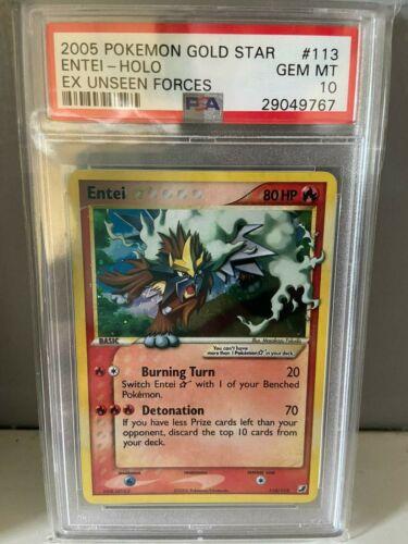 PSA 10 Entai Pokemon Card Ex Unseen Forces Gold Star