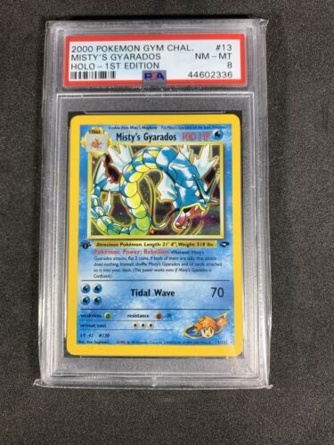 1st Edition Mistys Gyarados Holo Gym Challenge PSA 8 NMMT Pokemon Card