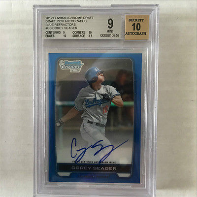 2012 Bowman Chrome Draft Draft Pick Auto Blue Refractors Corey Seager RC 150