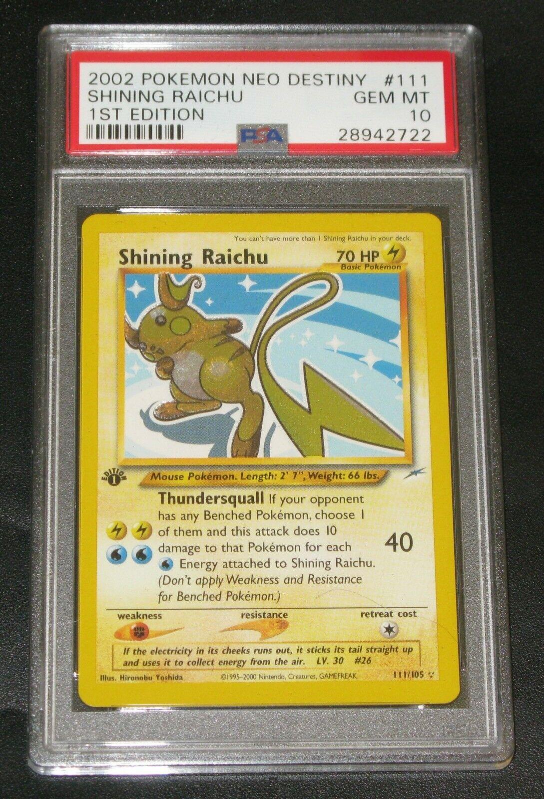 Pokemon Card  PSA 10 1st Edition Shining Raichu  Neo Destiny 111105