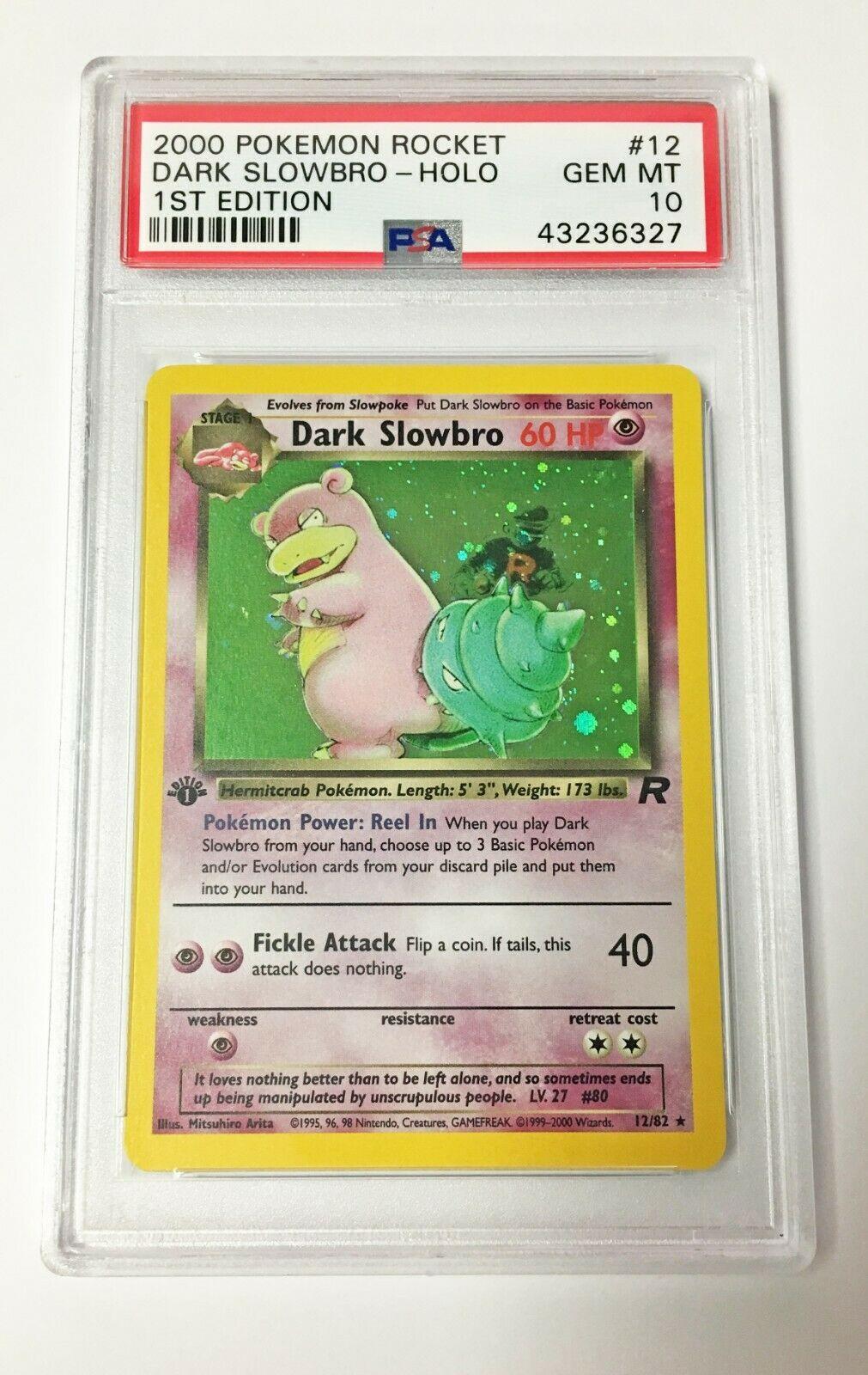 Pokemon Card  PSA 10 1st Edition Dark Slowbro 1282  Team Rocket  PSA10