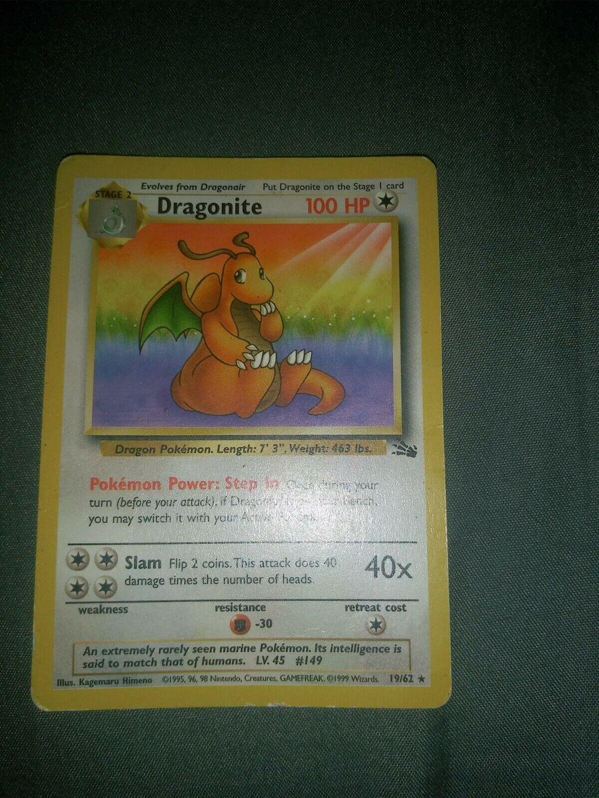 1995 Dragonite Edition Pokemon Card 1962 first edition