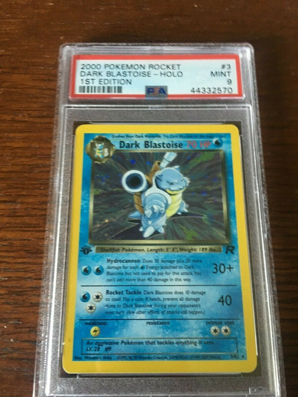 Team Rocket 1st Edition Dark Blastoise Holo Foil PSA 9  Mint Pokemon Card 382