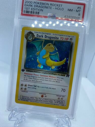 2000 Pokemon Rocket 1st Edition Holo Dark Dragonite Psa 8