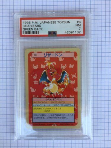Pokemon Psa 7 Charizard 1995 Japanese Topsun Green Back Nm