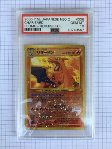 Pokemon Psa 10 Charizard 2000 Japanese Neo 2 Promo Reverse Foil Gem Mint