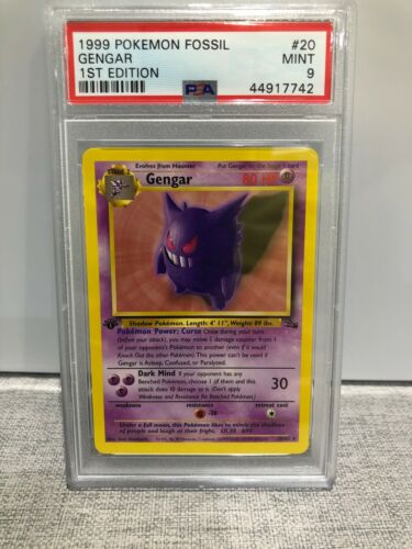 PSA 9 MINT 1st Edition Fossil Non Holo Gengar 2062 Pokemon Card IMMACULATE
