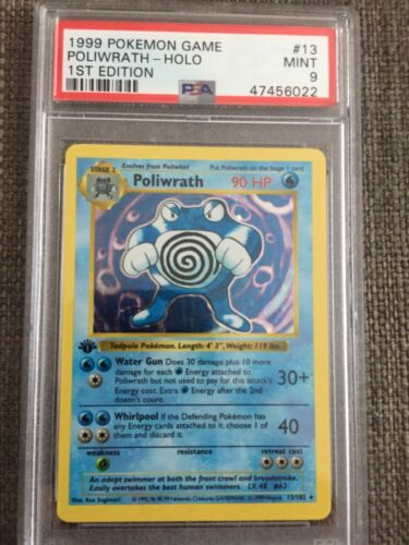 1999 Pokemon 1st Ed Shadowless Base Poliwrath Holo 13102 PSA 9 Mint THICK STAMP