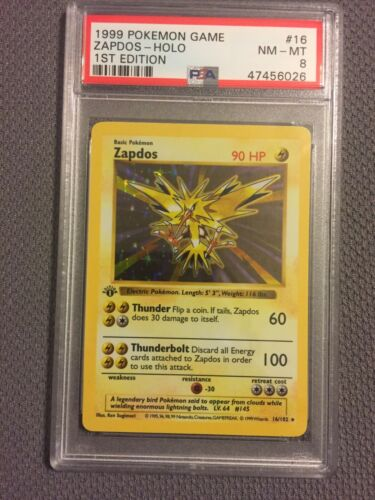 1999 Pokemon 1st Base Edition Shadowless Zapdos 16102 PSA 8 NMMint Thick STAMP