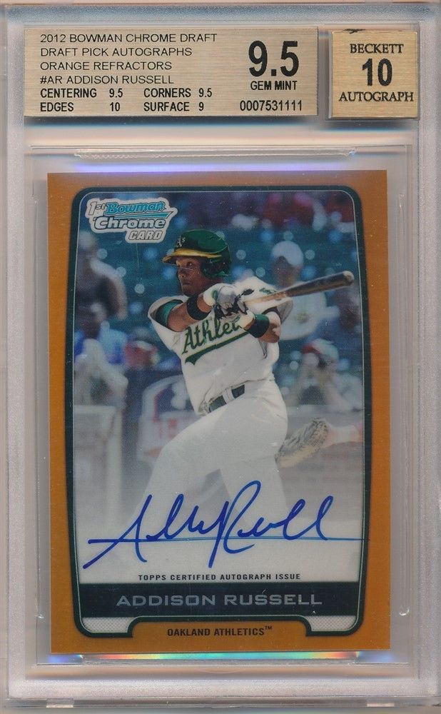 ADDISON RUSSELL 2012 BOWMAN CHROME RC ORANGE REFRACTOR AUTO 25 BGS 95 GEM 10