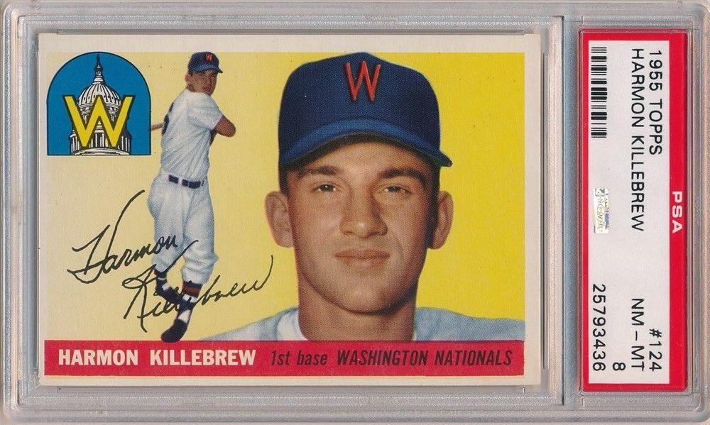 HARMON KILLEBREW 1955 TOPPS 124 RC ROOKIE CARD WASHINGTON NATIONALS PSA 8 NMMT