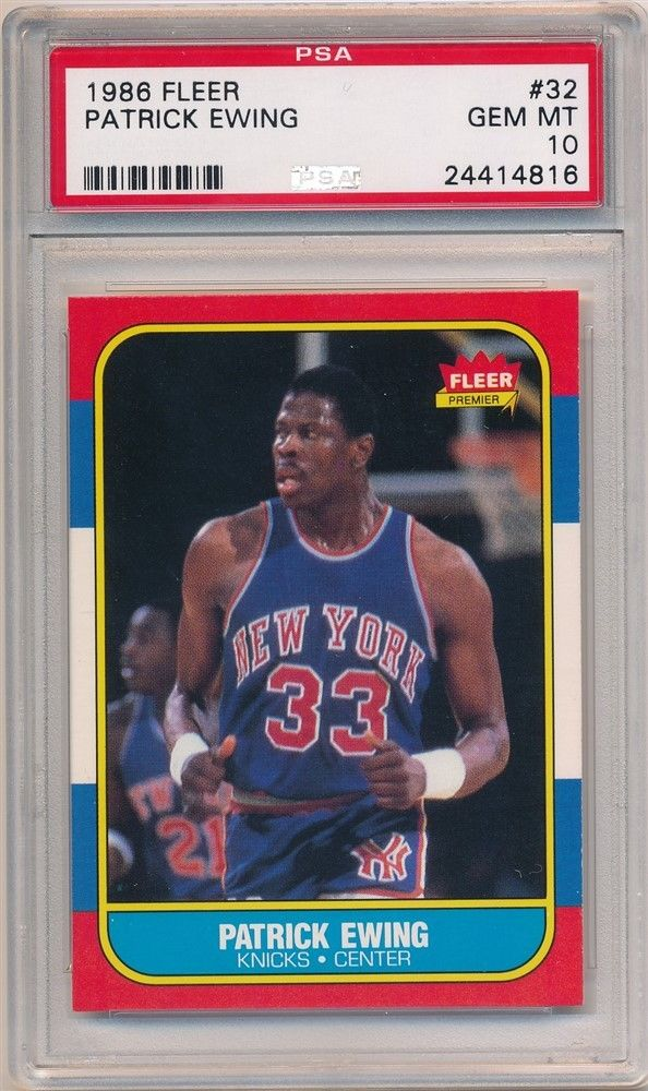 PATRICK EWING 1986 8687 FLEER 32 RC ROOKIE NEW YORK KNICKS PSA 10 GEM MINT