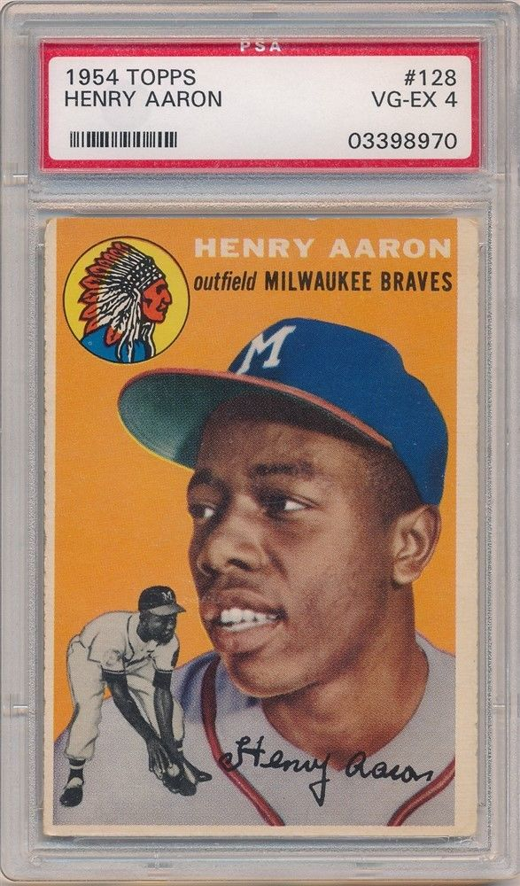 HENRY HANK AARON 1954 TOPPS 128 RC ROOKIE CARD MILWAUKEE BRAVES PSA 4 VGEX