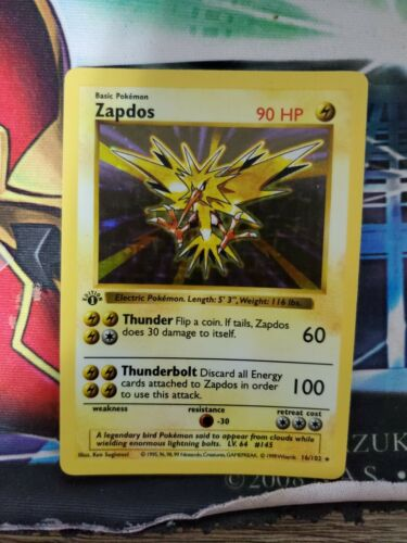Zapdos 16102 1st Edition Shadowless Pokemon Card Holo Rare WOTC Base Light Play