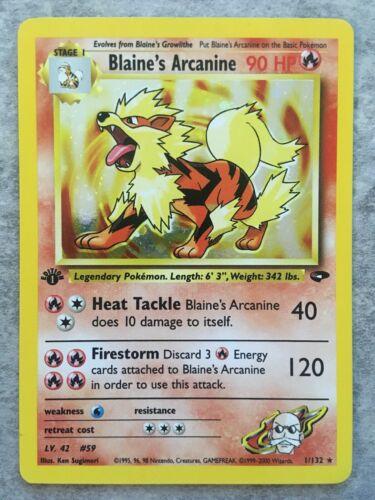 Blaines Arcanine 1132 Holo 1st Edition Gym Challenge   Pokemon Card NM