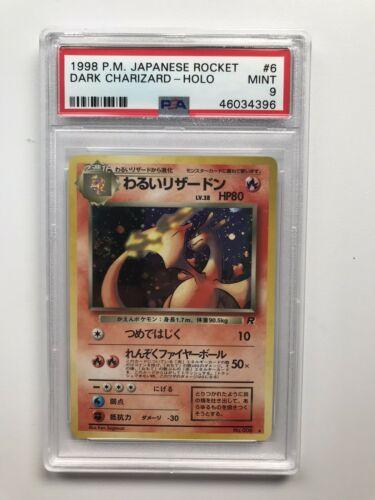 Pokemon Japanese 1998 Rockets Dark Charizard Holo PSA Mint 9