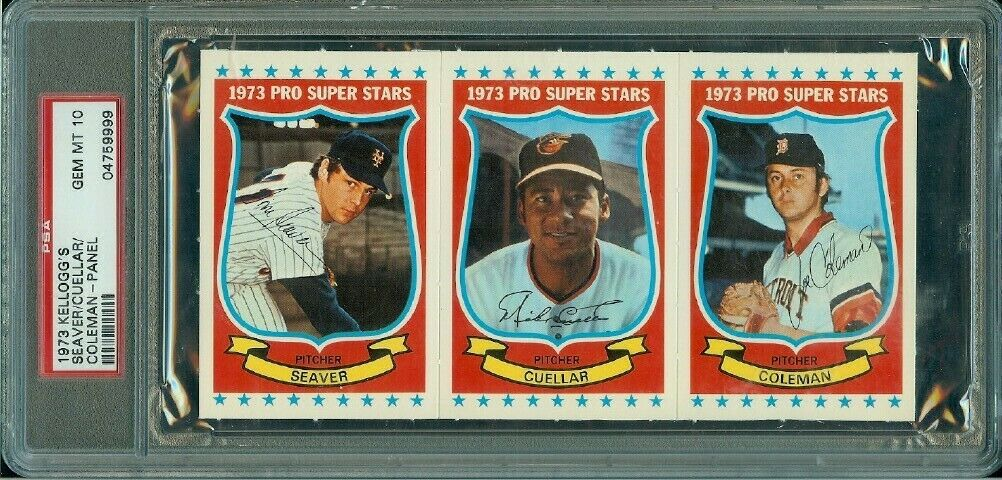 1973 Kelloggs Baseball Panel Tom Seaver M Cuellar Coleman  PSA 10 WOW