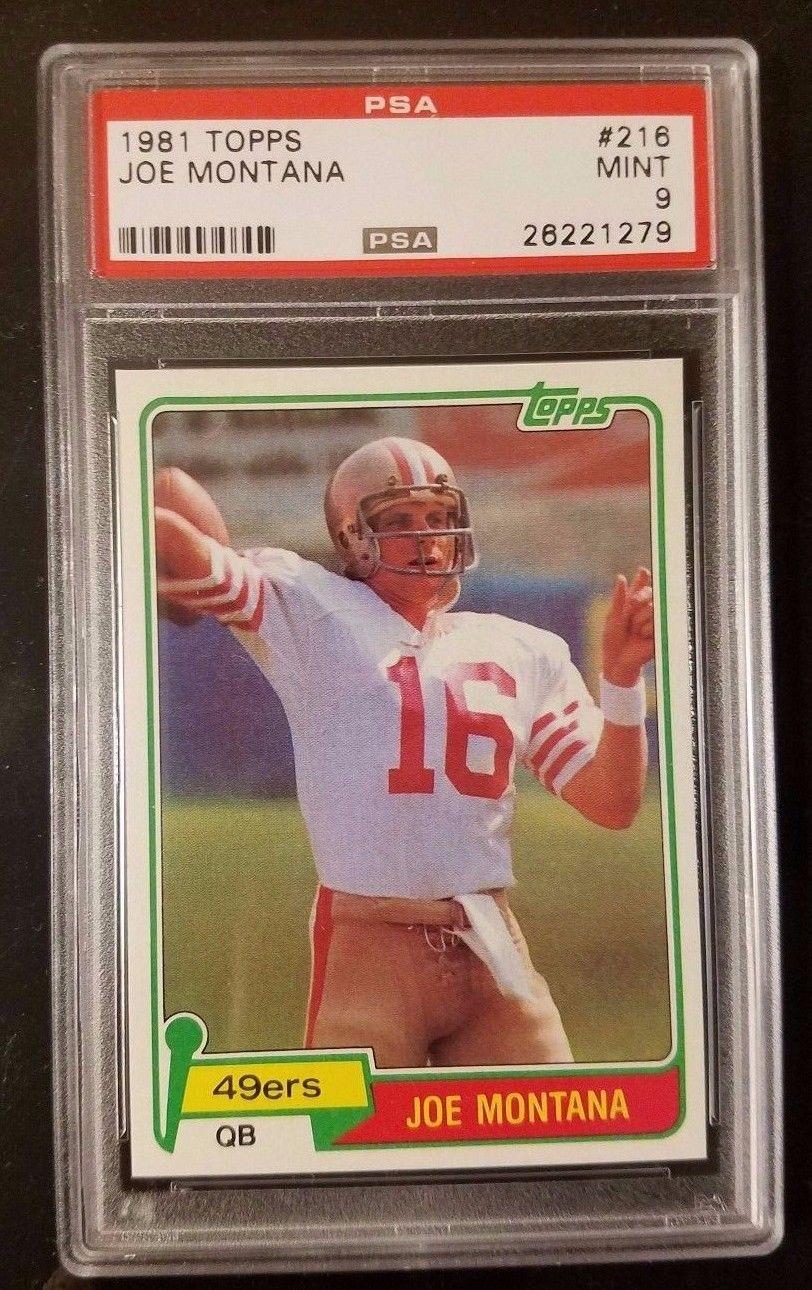 1981 Topps Joe Montana Rookie 216 graded PSA 9 MINT High Quality