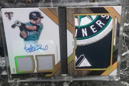 2016 Topps Triple Threads Ichiro Sick 4 Clr Logo Patch Auto Booklet Jsys 13