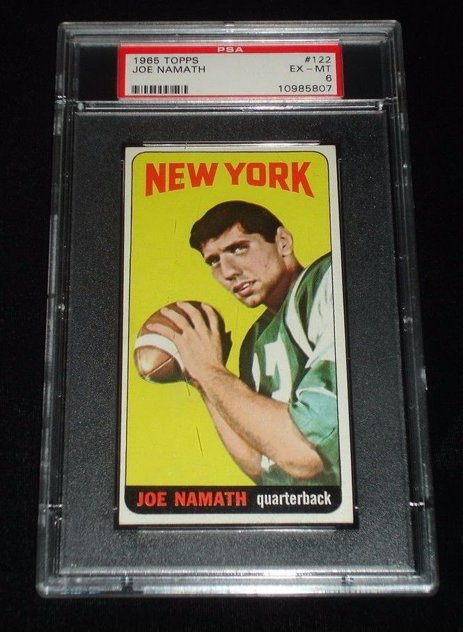 1965 Topps Joe Namath Rookie Football CardNY Jets122PSA EXMT 6High End