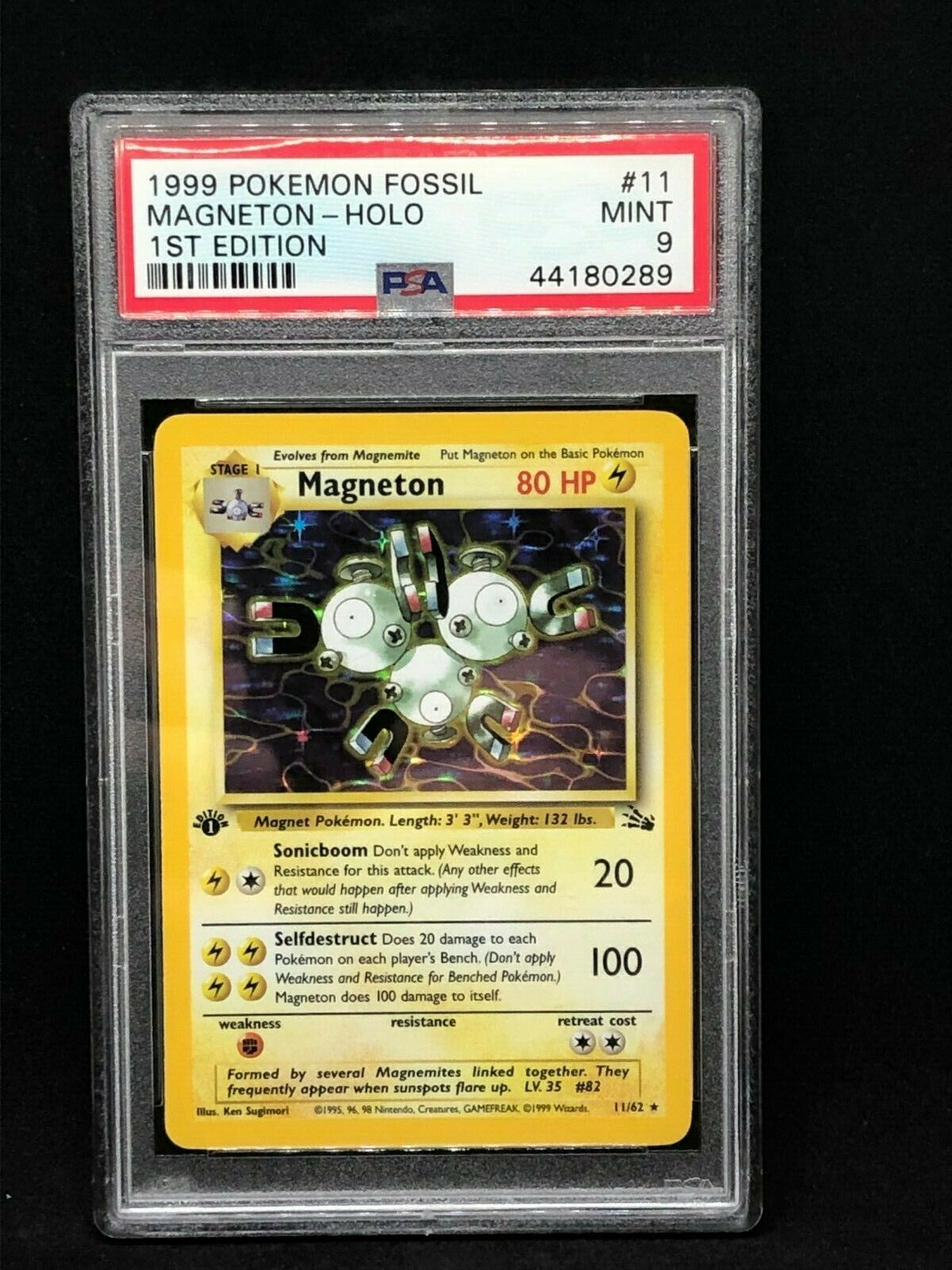 Pokemon Card  PSA 9 1st Edition Magneton Holographic  Fossil  1162