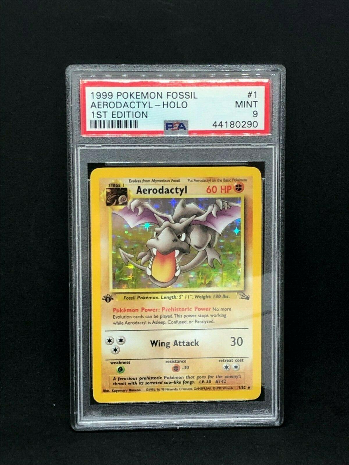 Pokemon Card  PSA 9 1st Edition Aerodactyl Holographic  Fossil  162