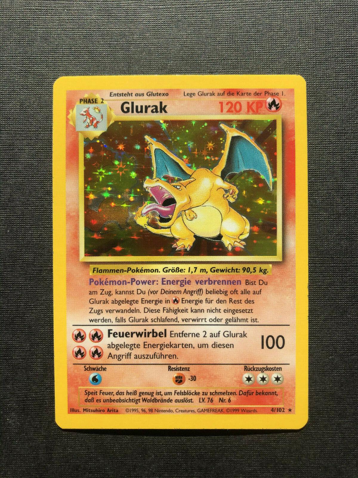 Pokemon Karte Glurak 4102 Holo Basis Deutsch nicht 1 Edition PSA 10 Goldstar