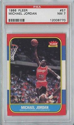 MICHAEL JORDAN 1986 87 FLEER BASKETBALL 57 BULLS ROOKIE PSA 7
