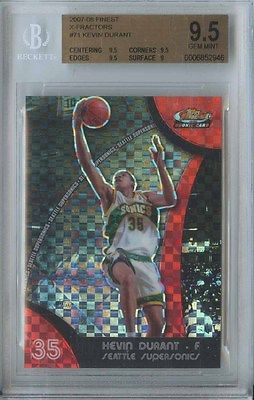 KEVIN DURANT 2007 08 TOPPS FINEST 71 SONICS ROOKIE XFRACTOR 215 BGS 95