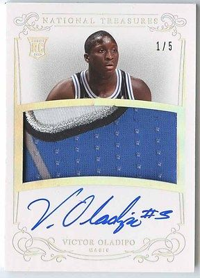 VICTOR OLADIPO 2013 14 NATIONAL TREASURES 116 MAGIC ROOKIE PATCH AUTO 15