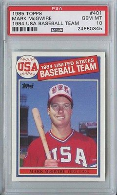 MARK MCGWIRE 1985 TOPPS USA BASEBALL TEAM 401 ROOKIE PSA 10
