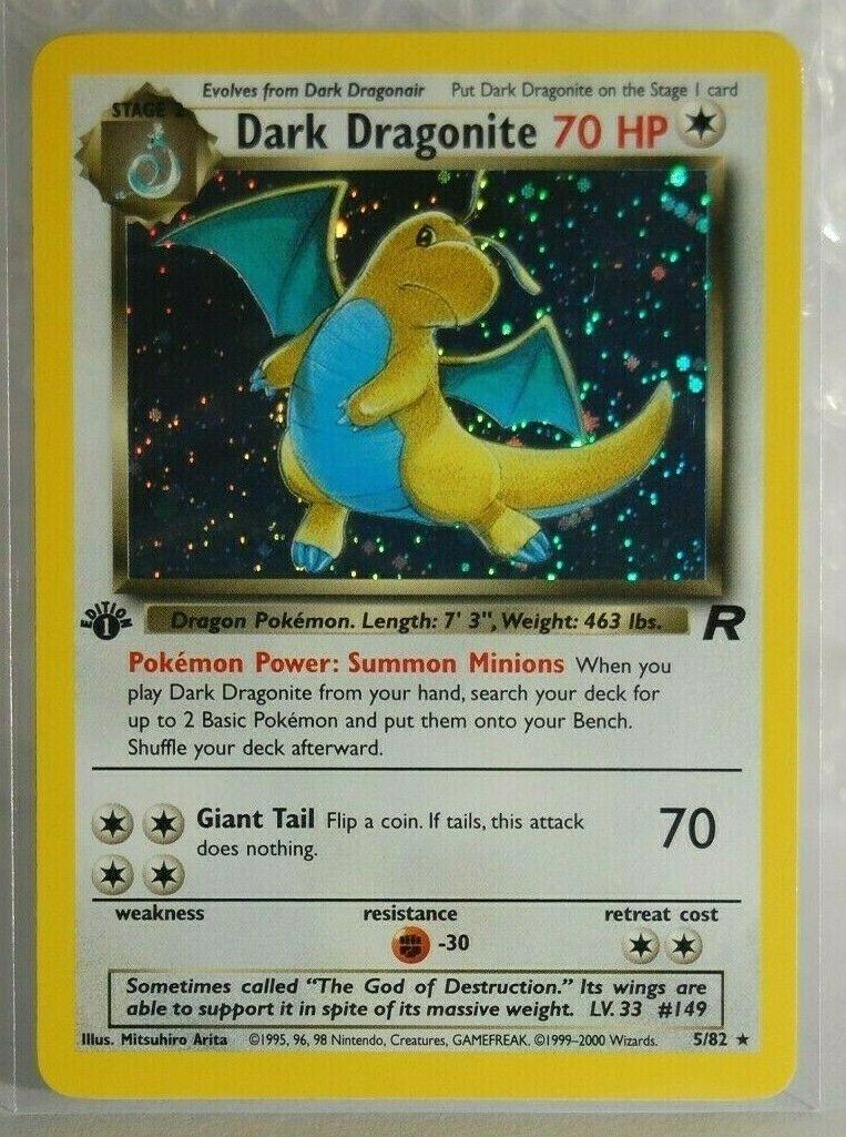 Dark Dragonite 1st Edition Holo Rare Team Rocket Pokemon Card NM 5