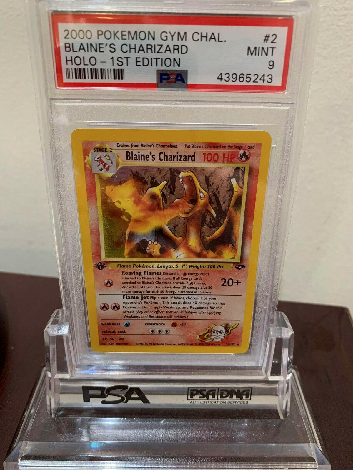PSA 9 Holo 1st Edition Blaines Charizard Gym Challenge Pokemon Card 2132