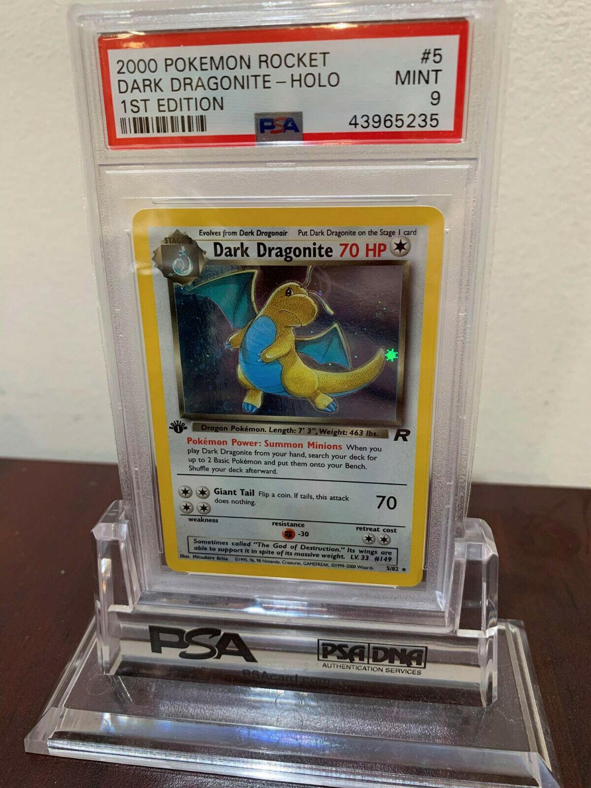 PSA 9 Holo 1st Edition Dark Dragonite Team Rocket Pokemon Card 582