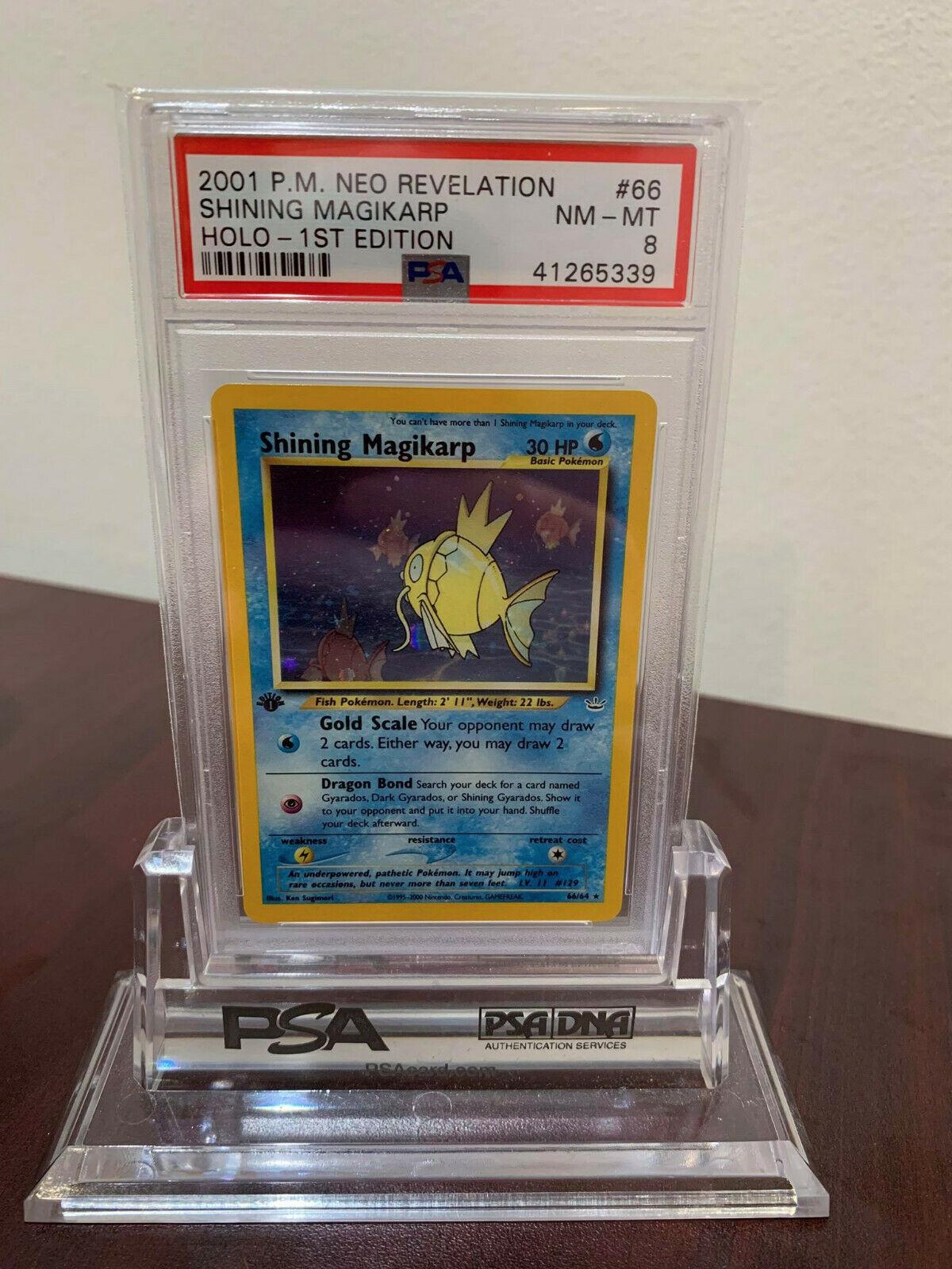 PSA 8 Secret Holo 1st Edition Shining Magikarp Neo Revelation Pokemon Card 6664