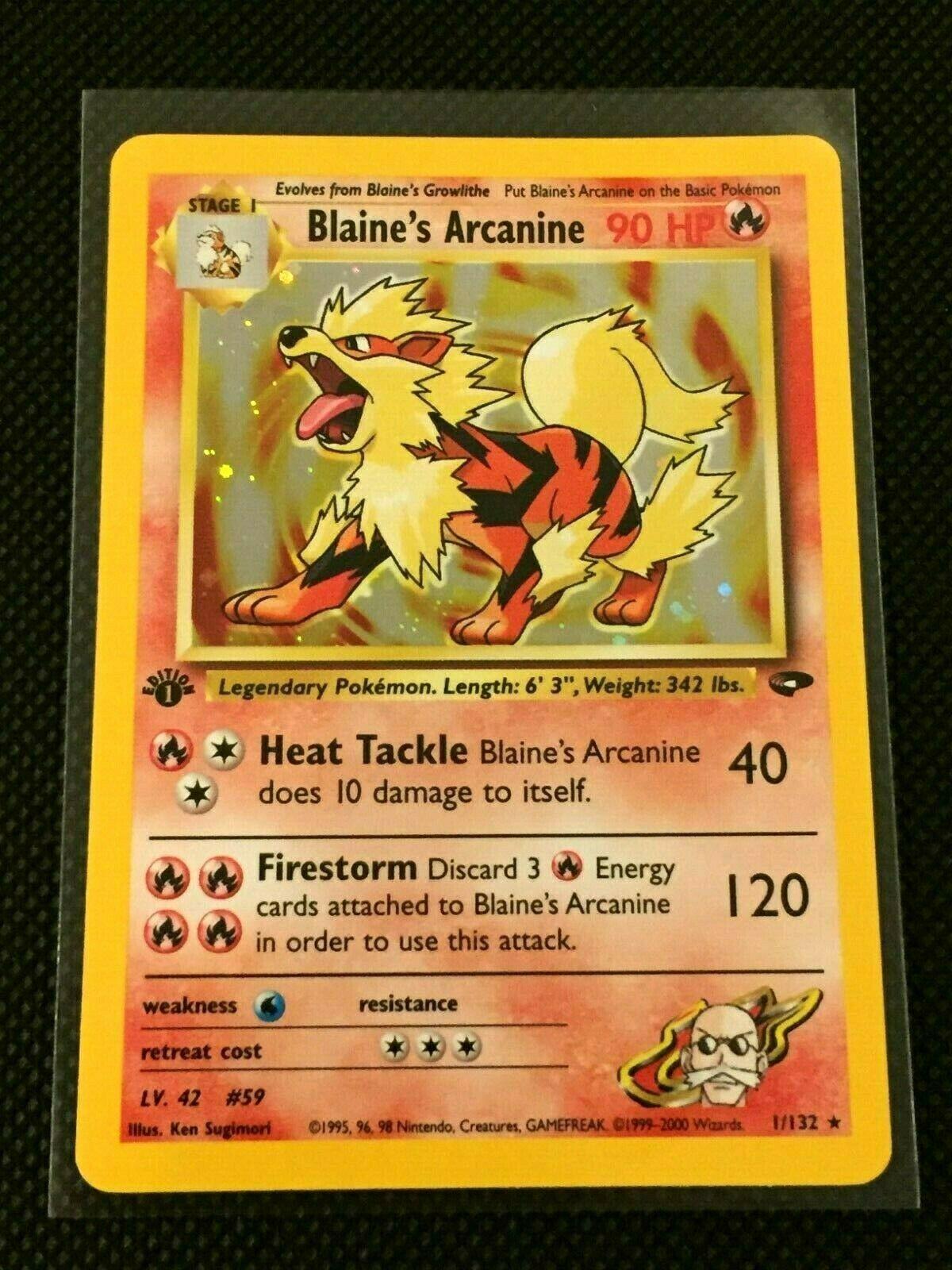Blaines Arcanine 1st Edition Holo Rare Gym Challenge Pokemon Card NM 1